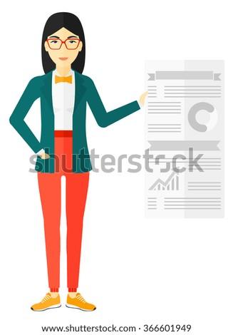 Woman presenting report. - stock vector