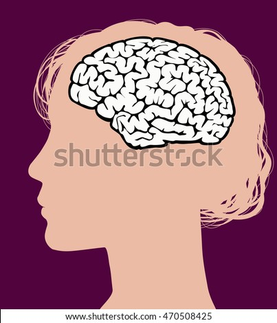 Woman Profile and Brain