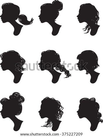 Woman Profile Silhouettes - Vector Illustration - stock vector