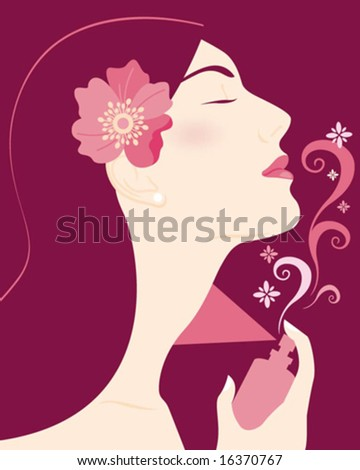 woman profile with perfume