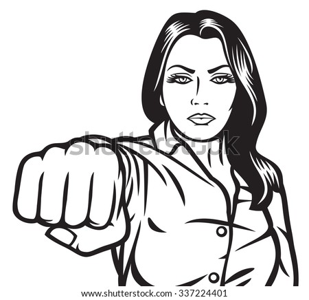 woman punching  - stock vector