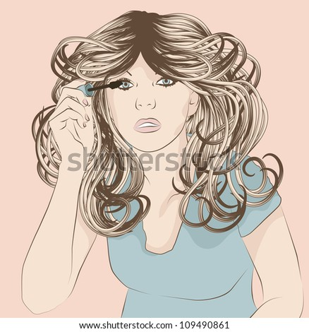 Woman putting on mascara makeup - stock vector