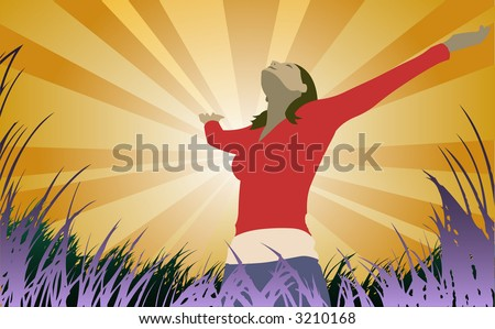 Woman reaches to the sky (also in high-res jpeg) - stock vector