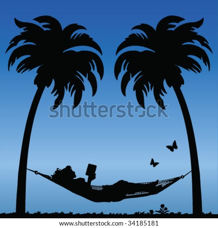 Woman Reading in a Hammock Between Palm Tress - stock vector