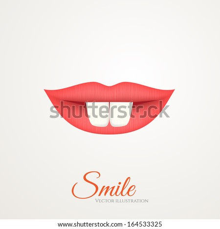 Woman red lips with two teeth. Funny smile logo. - stock vector
