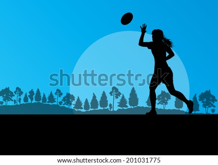 Woman rugby silhouette in countryside nature background illustration vector - stock vector