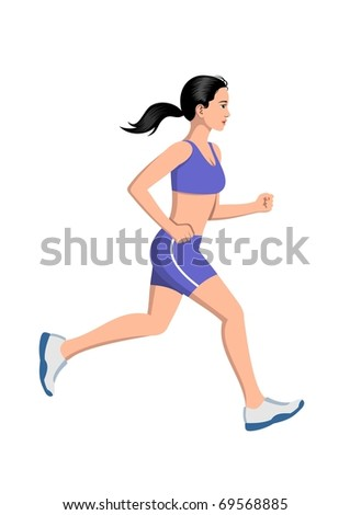 Woman running - stock vector