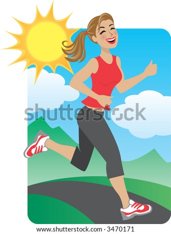 Woman Running in the Park - stock vector