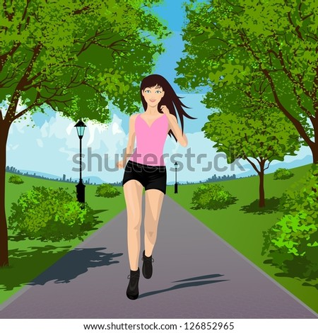 Woman Running in the Park. Vector illustration - stock vector