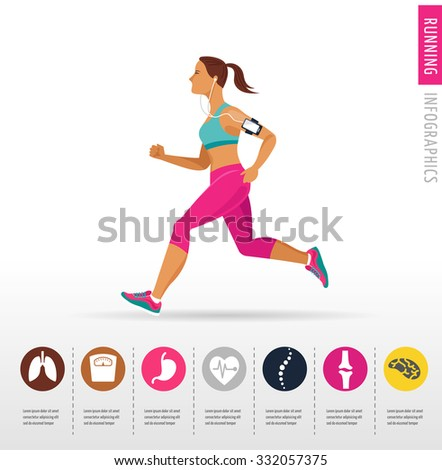 woman running, jogging - infographic - stock vector