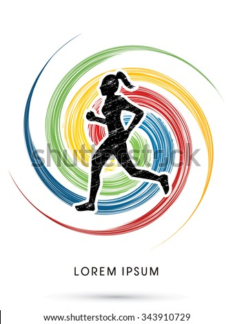 Woman running, Marathon designed using grunge brush on colorful spin background graphic vector - stock vector