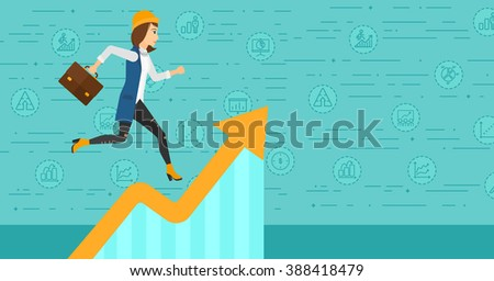 Woman running on growth graph.  - stock vector