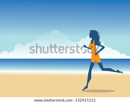 Woman running on the beach.   EPS 8 vector, grouped for easy editing. No open shapes or paths. - stock vector