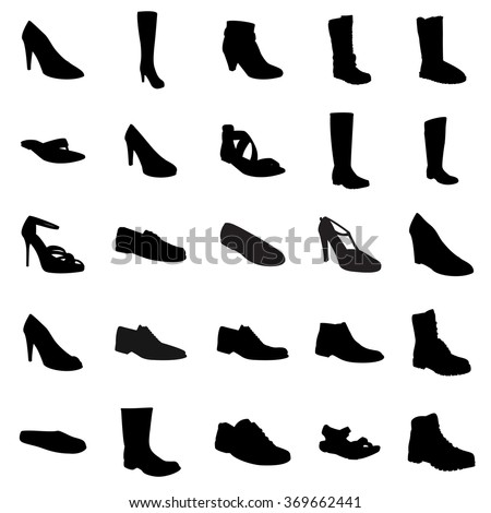 Woman's and man's footwear, silhouettes. Names: ankle boot, biker boot, business shoe, heel-strap sandals, men sandal, moccasin, outdoor boots, rubber boots, sandals, snow boots, trainers, footwear - stock vector