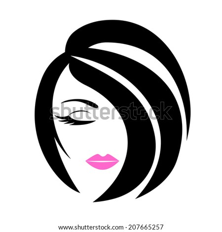 Womans Beautiful Face Beauty Salon Logo Stock Vector 207665257