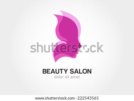 Woman's face in butterfly wings. Abstract design concept for beauty salon. Vector logo template.  - stock vector