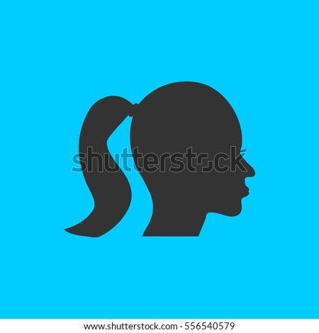 Woman's face shape icon flat. Simple vector black pictogram on blue background