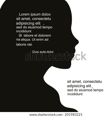 Woman's face silhouette and a place for text. - stock vector