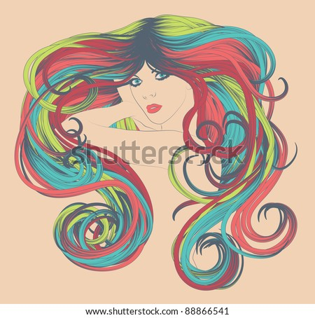 Woman's face with curly and bright, colorful long rainbow hair - stock vector