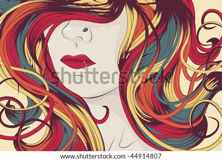 Woman's face with long colorful curly hair. eps10 file. - stock vector