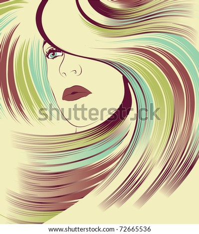 Woman's face with long colorful hair - stock vector
