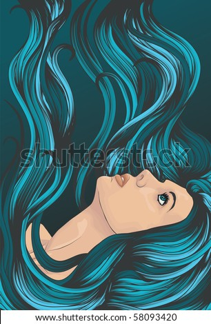 Woman's face with long detailed flowing blue hair - stock vector