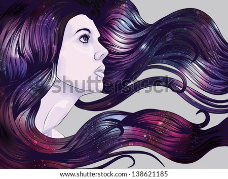 Woman's face with starry background hair - stock vector