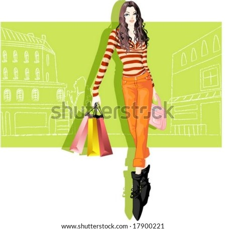 Woman's Fashion and Shopping - posing with pretty casual and urban style on green background : vector illustration - stock vector