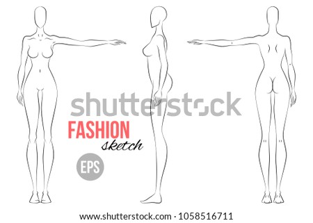 womans figure sketch different poses technical drawing vector outline girl model template for