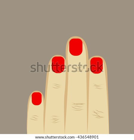 woman's hand four fingers with manicure. red manicure, short nails. gray background. vector illustration - stock vector