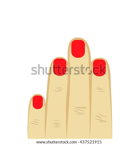 woman's hand four fingers with manicure. red manicure, short nails. isolated on white background. vector illustration