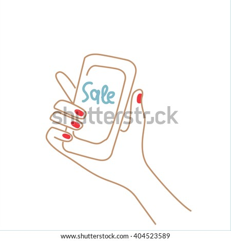 woman's hand holding a cell phone with the word discount. eps 10 - stock vector