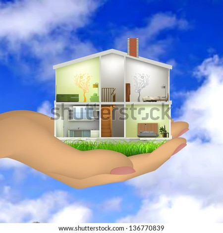 Woman's hand holding a house cut with interiors - stock vector