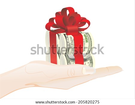 Woman's hand holding object - rolls of 100 dollars banknotes - stock vector