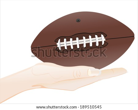 Woman's hand holding object-Rugby ball