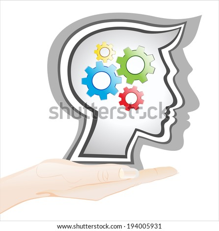 Woman's hand holding object-silhouette gear head  isolated on white background. - stock vector