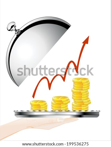 Woman's hand holding silver platter with Financial success concept  on white background isolated - stock vector