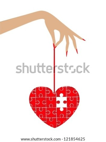 woman's hand, which holds the heart puzzle. In the puzzle missing a beat - stock vector