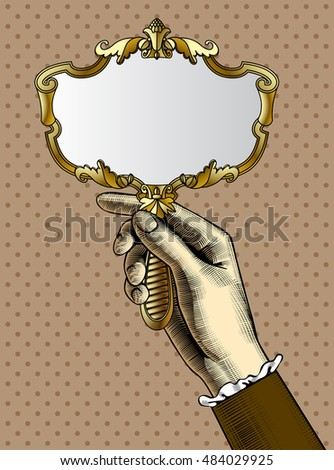 hand holding a mirror. woman\u0027s hand with a gold retro mirror. vintage stylized drawing. vector illustration holding mirror o