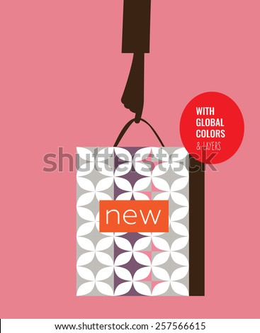 Woman's hand with shopping bag new. Vector illustration Eps10 file. Global colors & layers. - stock vector