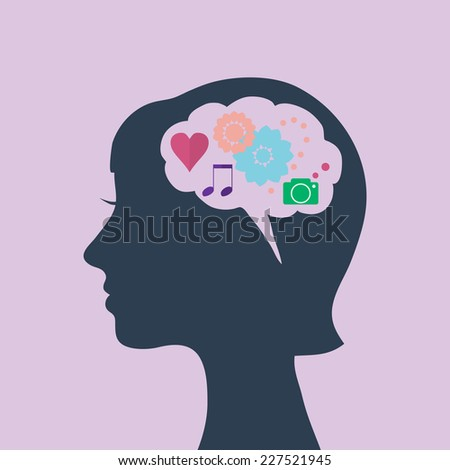 Woman's head silhouette with different creative and emotional symbols in mind, vector flat illustration.  - stock vector