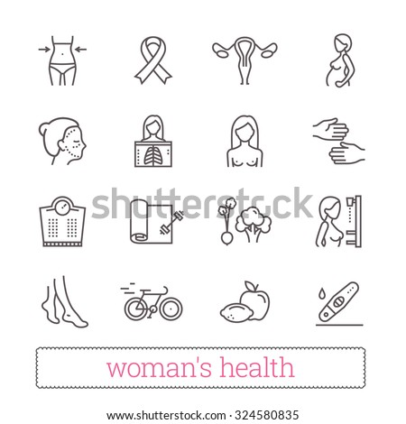 Woman's health thin line icons. Medicine, women's beauty, active lifestyle, healthy diet, breast cancer awareness symbols. Modern vector design elements. Isolated on white. - stock vector
