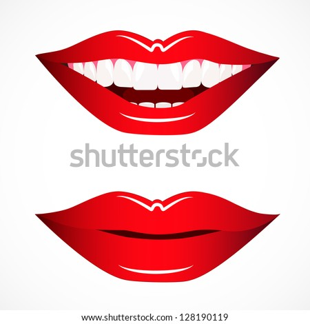 Woman's Lips Smile And Closed, Isolated On White Background, Graphic Design Editable For Your Design. Smiling Mouth - stock vector