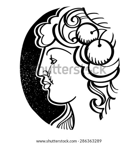 Womanâ??s profile - Demeter, ancient Greek goddess of fertility, agriculture, grain, and harvest - stock vector