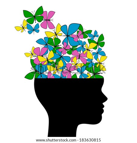 Woman's profile with emerging butterflies - stock vector