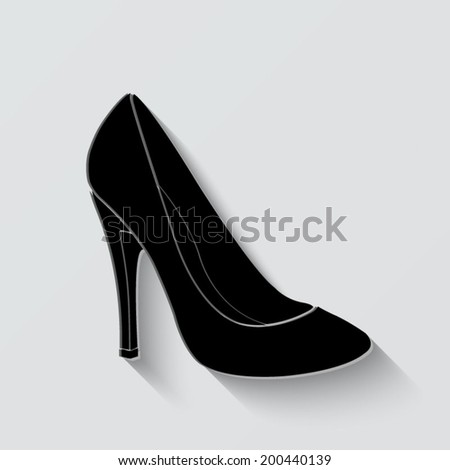 woman's shoes icon - vector illustration with shadow on light background