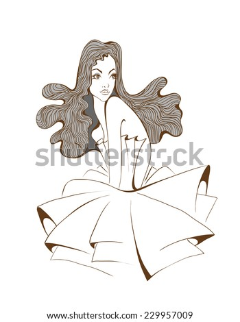 Woman's with beautiful hair - stock vector