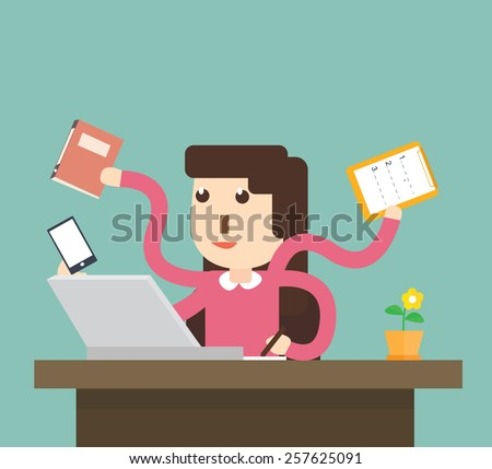 woman secretary hard working - stock vector