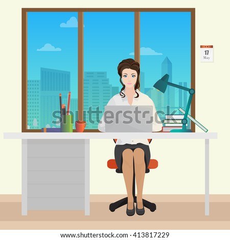 Woman Secretary office manager in office interior. Businesswoman person working on laptop. - stock vector