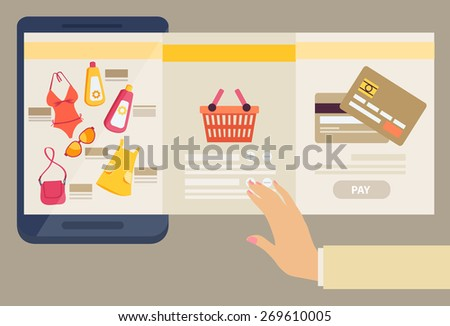 Woman selecting clothes to purchase online with three screens showing the selection of merchandise available, a shopping basket and payment by credit card in an e-commerce concept, vector illustration - stock vector